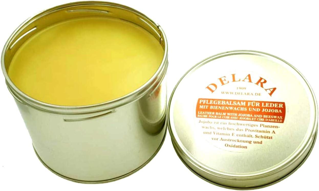 DELARA Bálsamo para Cuero con yoyoba y Cera de Abejas y fragracia a limón. En Cubos de 500 ml - Made in Germany