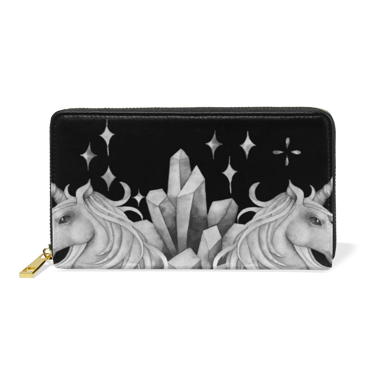 Unicorn Black Background Women Wallet Female Coin Purse Phone Clutch Pouch Girl Cash Bag Leather Card Change Holder Organizer Storage Key Hold Elegant Handbag For Party Birthday Gift