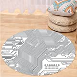 VROSELV Custom carpetDigital Computer Motherboard Electronic Hardware Technical Display Futuristic Plan Design for Bedroom Living Room Dorm Grey White Round 34 inches