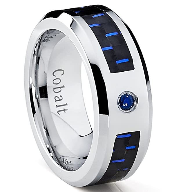 Cobalt Mens Wedding Band Ring with Black and Blue Carbon Fiber