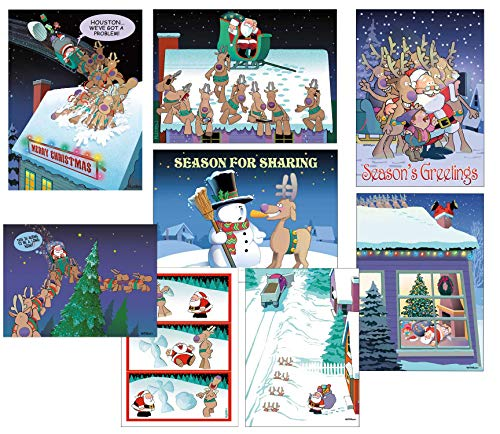 Box Set of 24 Funny Christmas Cards by Stonehouse Collection - 8 Designs, 3 Cards Per Design (Christmas Kids Card Photos Funny)