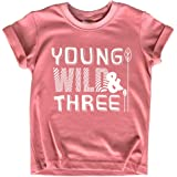 Young Wild and Three Shirt 3rd Birthday Girl Outfit 3 Year Old Third Party Tshirt