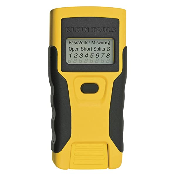 Klein Tools VDV526-052 RJ45 Tester, Continuity Tester, Data Cable Tester, LAN Scout Jr. (Color: Black|Yellow)