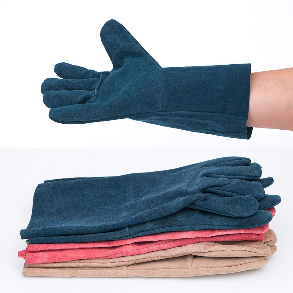 Goquik TIG Welder Protective Gloves and Long Leather Gloves, Wear-Resistant Insulation and Anti-scalding, 33cm, 10 Pairs, Random Colors