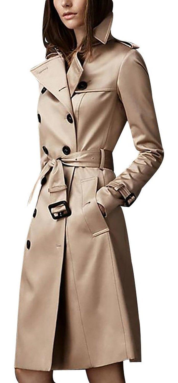 EORISH Women British Double Breasted Slim Long Trench Coat Windbreaker Khaki M
