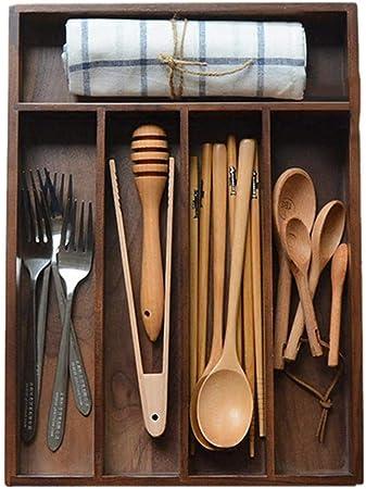 332PageAnn Caja Madera Cocina Organizador de Cubiertos para cajón, 5 Compartimentos, de Nogal: Amazon.es: Hogar