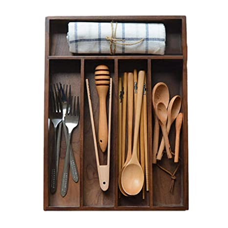 332PageAnn Caja Madera Cocina Organizador de Cubiertos para cajón, 5 Compartimentos, de Nogal