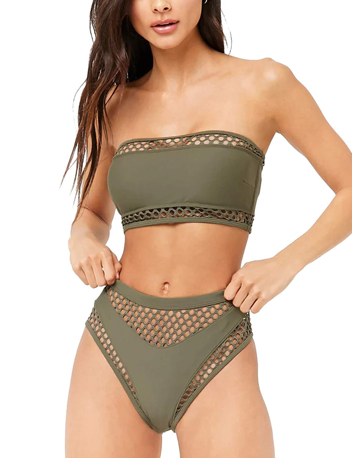 Women's Bandage Bikini High Waist Swimsuit High Cut Swimwear Sexy Mesh Bathing Suit Green