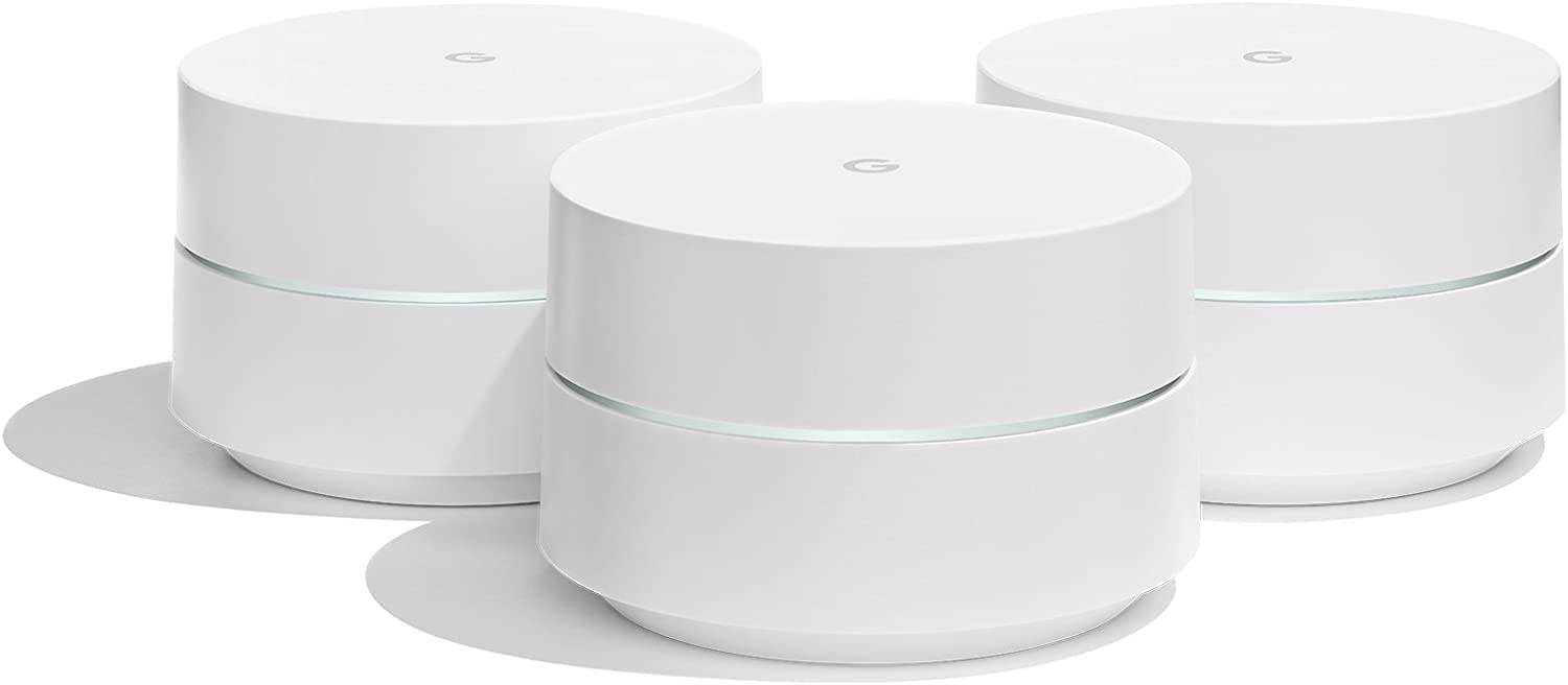 Google WiFi system, 3-Pack - Router Replacement for Whole Home Coverage (NLS-1304-25),White