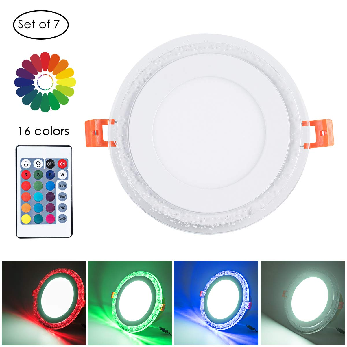 Remote Control 4'' Cool White + RGB LED Round Panel Light, Color Changing Ultra Thin Recessed Ceiling Lights with Driver, AC100-240V 6+3W, 6500K Cool White+RGB for Office, Home, Living Room, Pack of 7