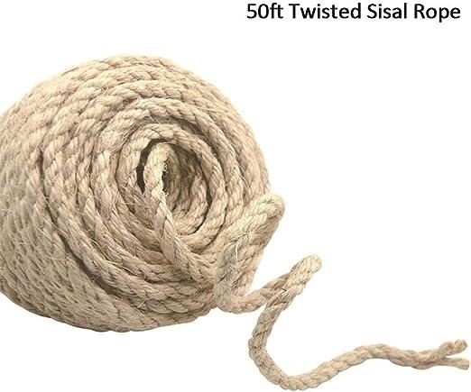 Corwar Gato Trenzado Cuerda de sisal para rascarse árbol de reemplazo, DIY Scratcher Home Cuerda Jardín Decoración 6 MM 50FT Pleasant: Amazon.es: Productos para mascotas