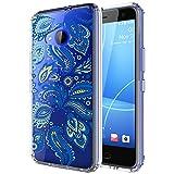 HTC U11 Life Case, Skmy Shockproof Hard PC+ TPU Bumper Case Scratch-Resistant Cover for HTC U11 Life 5.2-inch (Blue Flower)