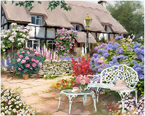 Modular Cottage Office ((DIY Frame) Coloring Canvas Home Decor Painting by Numbers-European thatched Cottage 16