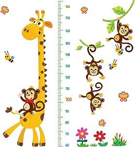 DEKOSH Giraffe & Monkeys Kids Height Wall Chart | Peel & Stick Nursery Wall Decals for Baby Bedroom, Toddler Playroom