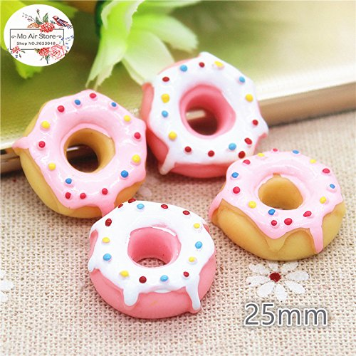 ZAMTAC Donut Sweet Candy 10PCS 25mm Polymer Clay Flatback Cabochon Miniature Food Art Supply Decoration Charm DIY Craft - (Color: Pink 10pcs) - Art Cabochon