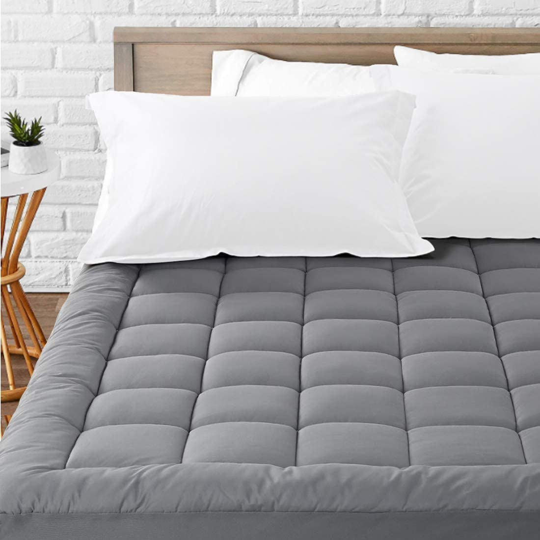 8-21 Inch Fitted Deep Pocket,Grey Twin Mattress Pad Cover Cooling Mattress Topper Pillow Top Breathable Mattress Toppers Quilted Fitted