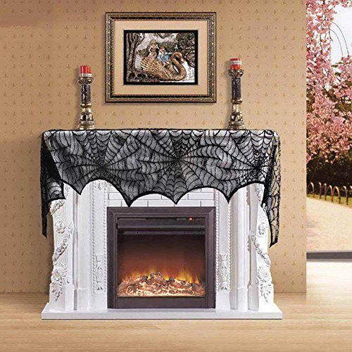 Halloween Table Decor (Halloween Party Spider Web Lace Tablecloth Indoor Bar Decor Table Cover Black)