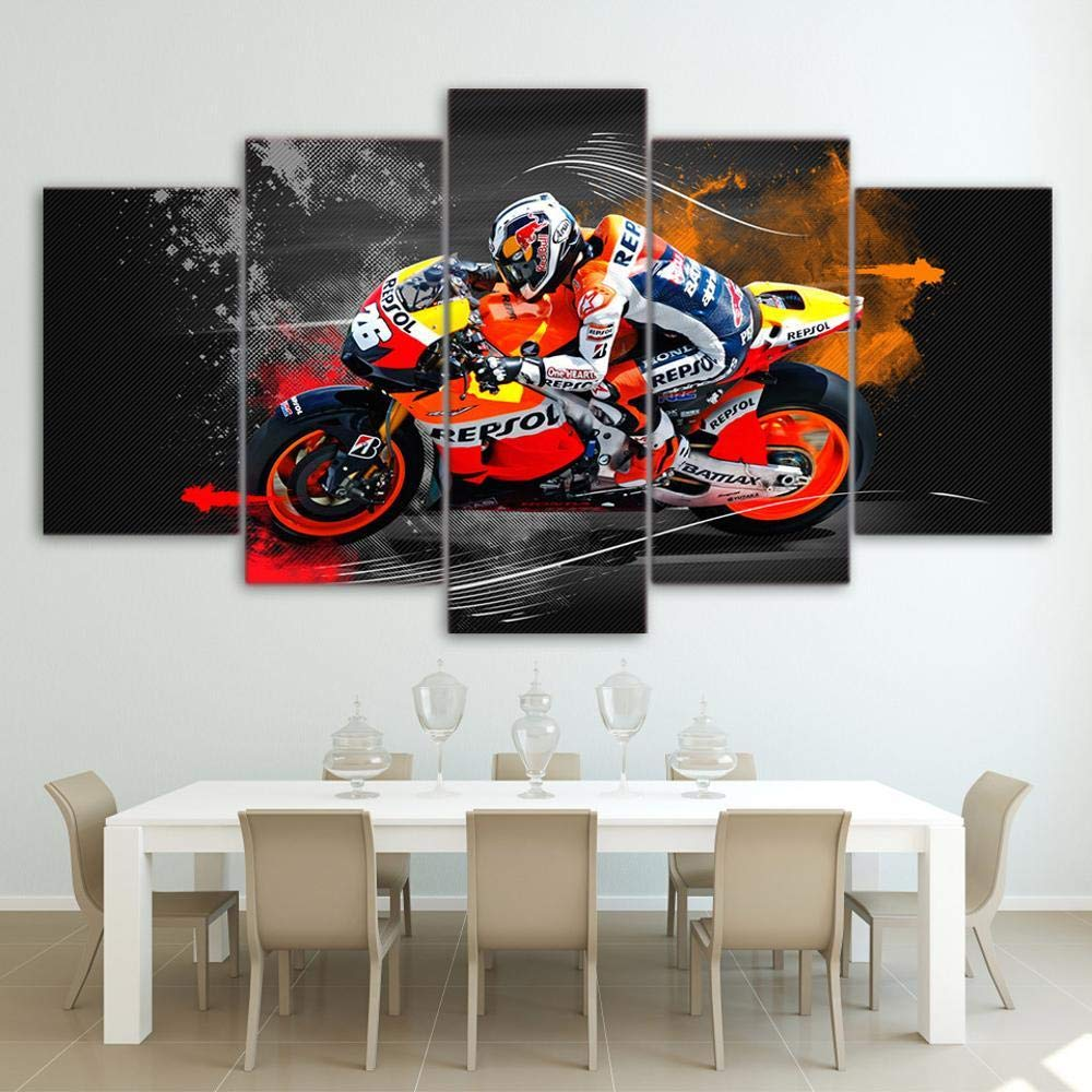 North King Arte de la Pared para Vivir 5 Cuadro de Pintura Decorativo de Moto Rider: Amazon.es: Hogar
