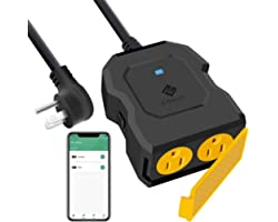 Etekcity ESO15-TB Outdoor Smart Plug WiFi Outlet with 2 Sockets, Works with Alexa & Google Home, Wireless Remote Control, Ene
