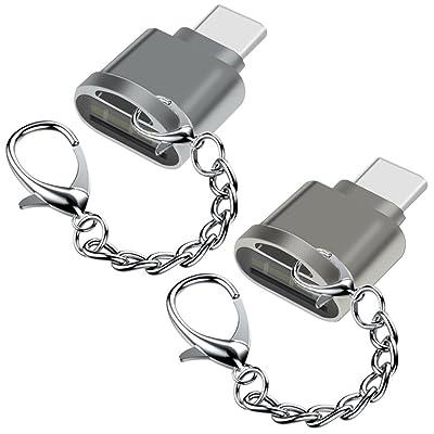 2pcs type C lecteur de carte mémoire, Afunta USB-C vers micro SD pour carte mémoire microSD microSDHC microSDXC, pour MacBook Pro Samsung Galaxy Nintendo commutateur Nexus LG–Argent&eacut