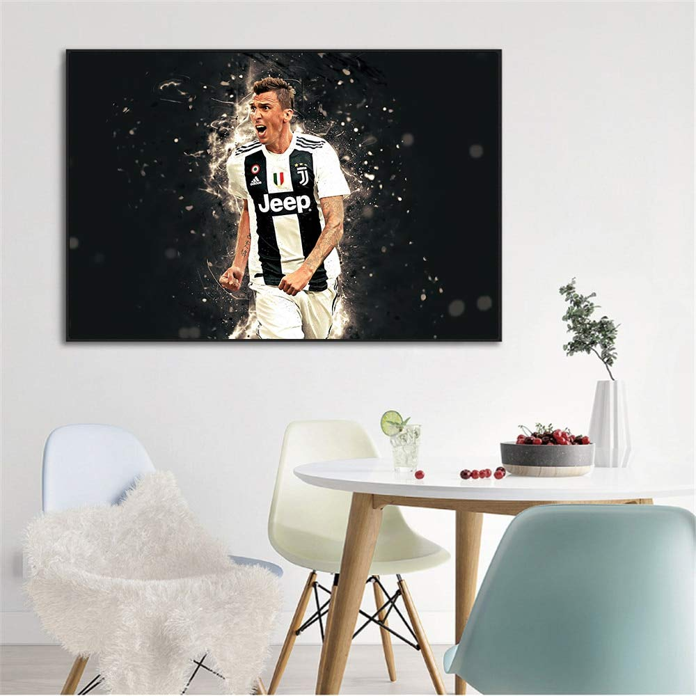 Size Ochoos Sport Posters Black White Ronaldo Juventus Dybala Pjanic Mandzukic Painting Abstract Wall Art Picture Living Room Decoration - : 10x15 cm Unframed, Color: Blue Inch