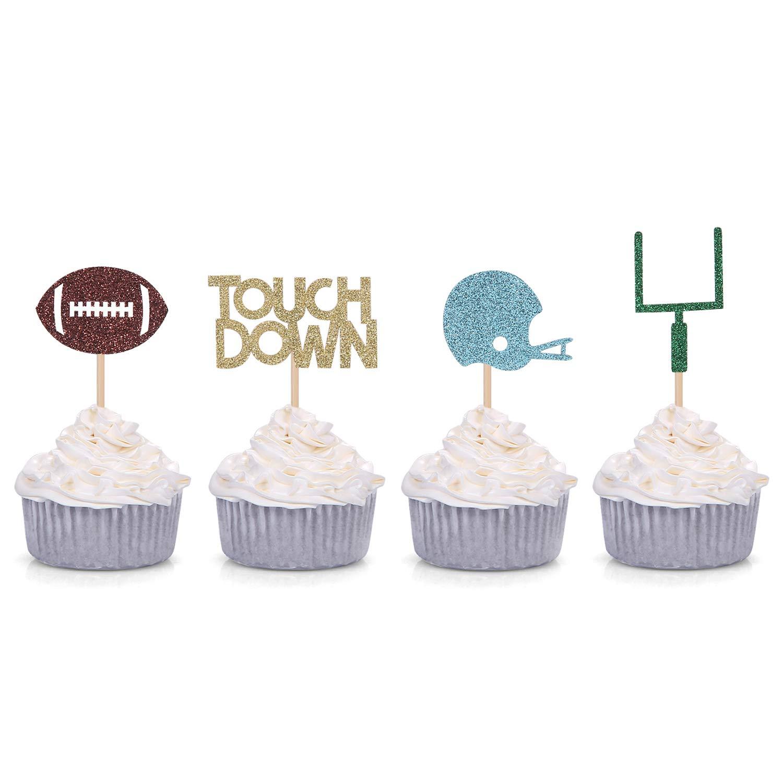 Amazon.com: 24 cuentos de decoración de cupcakes de fútbol ...