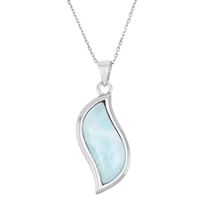 Amazon sterling silver natural larimar pendant with 18 chain sterling silver natural larimar pendant with 18quot aloadofball Image collections