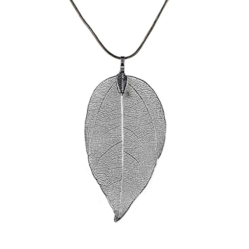 Alixyz Leaf Necklace Women Simple Manual Pendant Birthday Gift For Girlfriend Mom Black Alloy