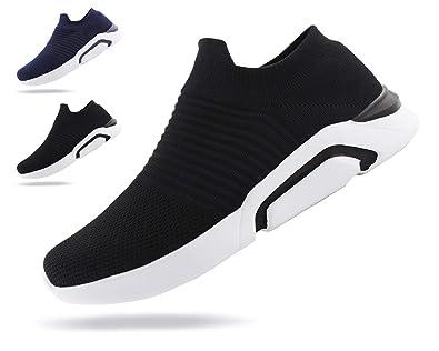 20dca58993615 Jabasic Mens Ultra-Sock Knit Running Sneaker Breathable Slip on Walking  Shoes