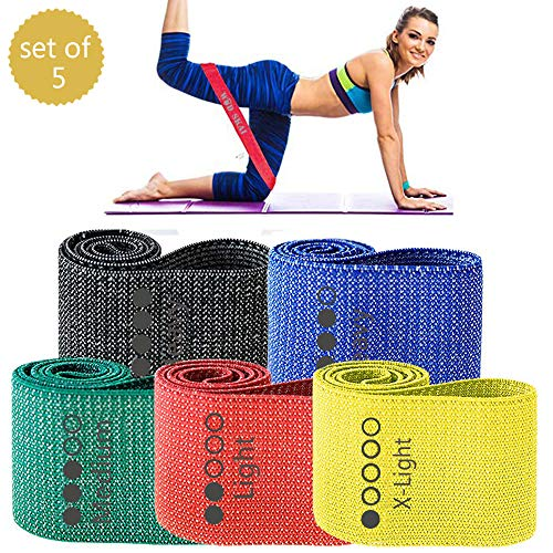 WODSKAI Resistance Exercise Fabric Bands, Non-Slip Booty Workout Bands for Legs & Butt and Glutes, 5 Levels Fitness…