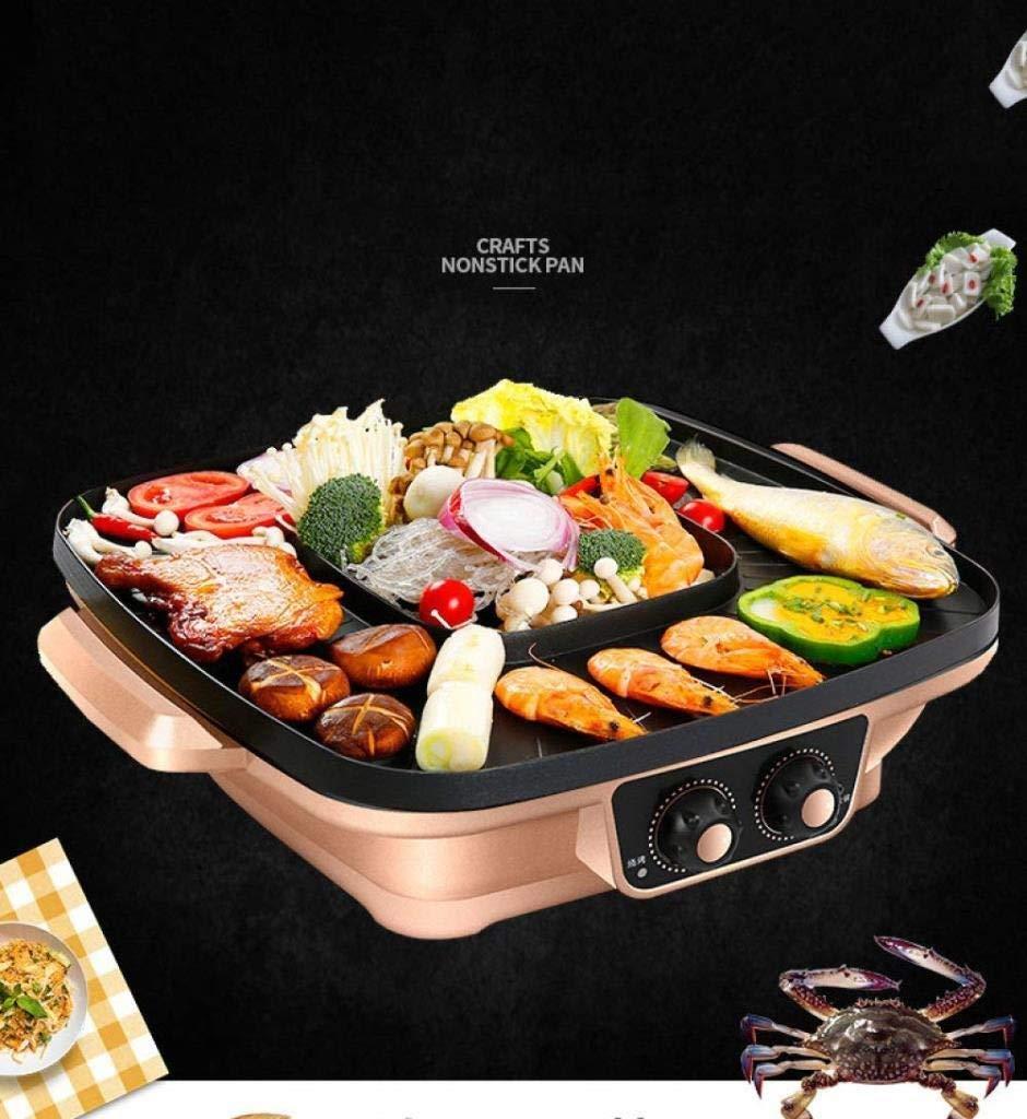 Or Color : Gold IVNZEI /Électrodomestiques Hot Pot Multifonctionnel antiadh/ésif Cuisini/ère /électrique Wok /électrique 1200W-Frying Pan Machine BBQ