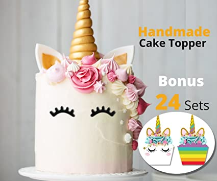 Unicorn Cake Topper And 24 Cupcake Kit For Birthday Party By Bee