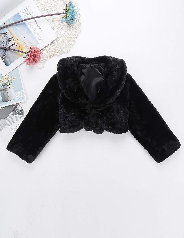 iiniim Girls Faux Fur Long Sleeve Coat Wedding Bridesmaid Birthday Party Jacket