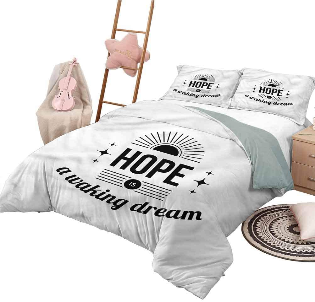 Amazon Com Nomorer Kids Quilt Set Full Size Hope Duvet Cover Set Monochrome Aphorism Quote Home Kitchen