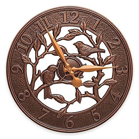 Whitehall Products Woodridge 16-Inch Indoor/Outdoor Wall Clock in Antique Copper