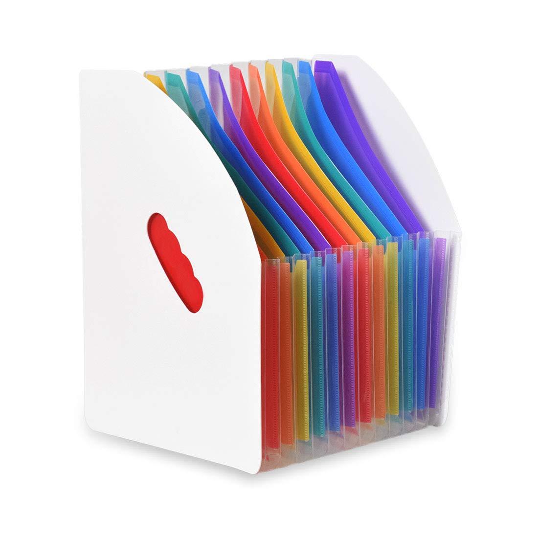formato A4 Lemical per studenti materiale scolastico rainbow-black portadocumenti in plastica verticale espandibile da scrivania
