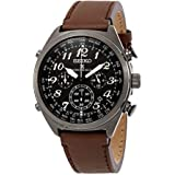 Seiko Men's Prospex Radio Sync Solar Brown Leather Strap Watch
