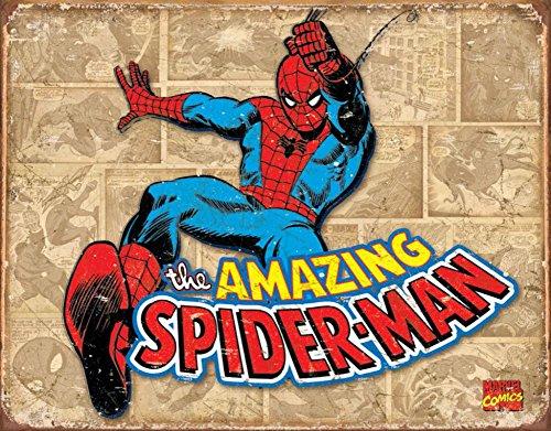 Poster Discount Spider-Man Tin Metal Sign : Retro Panels, 16x13