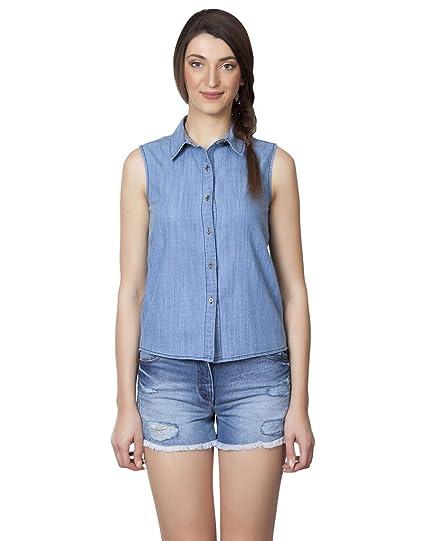 b5c1f30fe983af IRALZO Sleeveless Denim Shirt  Amazon.in  Clothing   Accessories