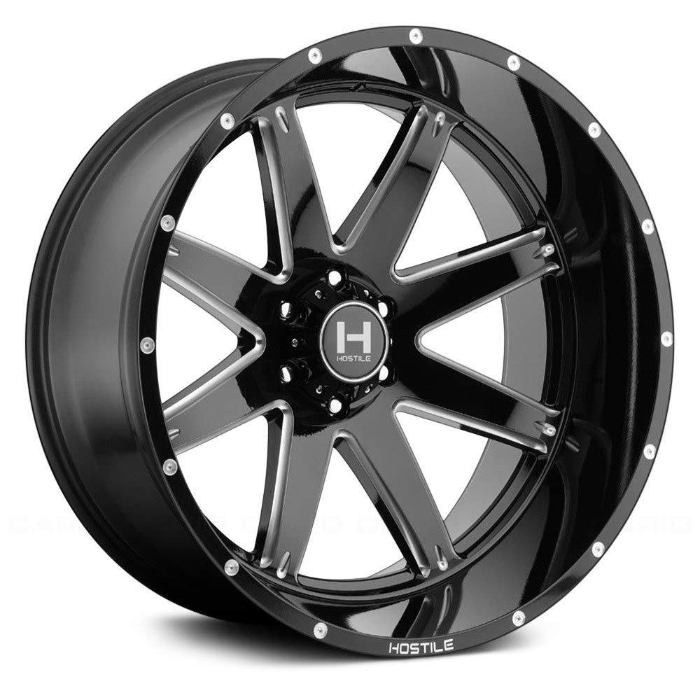 Hostile Alpha gloss black Wheel with Milled Finish 22 x 10. inches //6 x 135 mm, -25 mm Offset