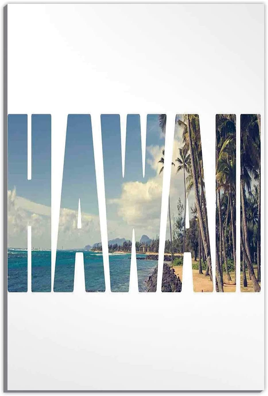 Hitecera Hawaiian,Gifts for Couples,Word Hawaii with Tropical Island Photo Exotic Popular Places Palm Forest by Ocean,Home Decoration,12''x16''