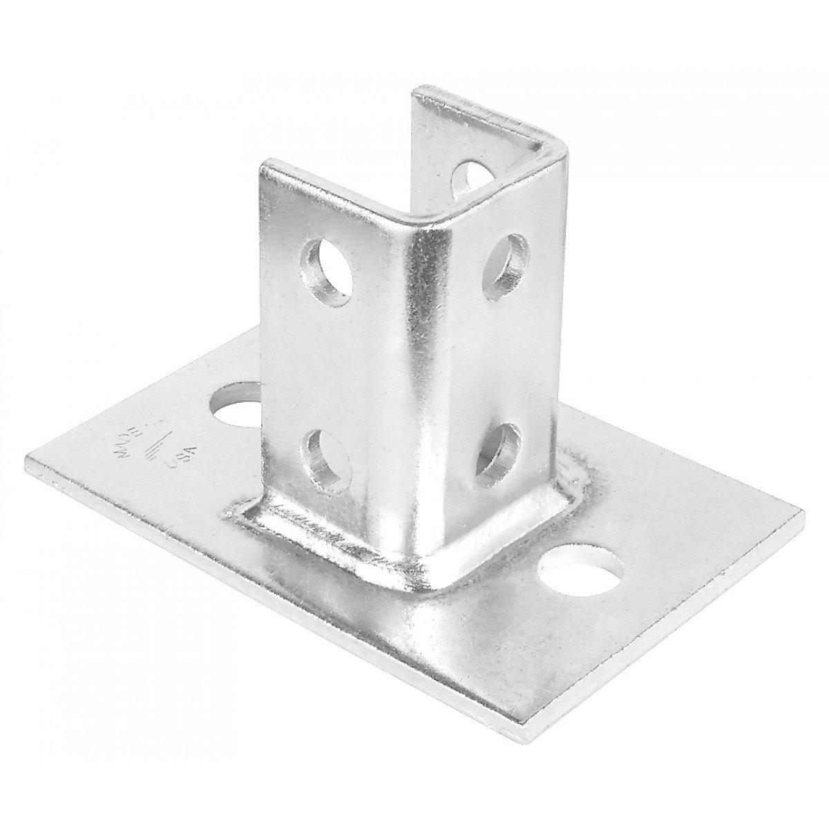 1 Pc, 2 Hole Single Channel Post Base, For 1-5/8 In. Strut, Zinc Plated Steel
