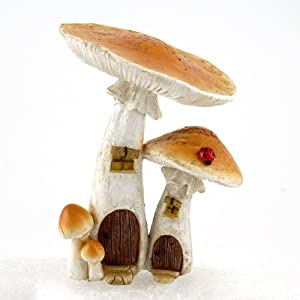 Top Collection 4373 Miniature Fairy Garden & Terrarium Cute Mushroom Houses Decor with Pick, Small