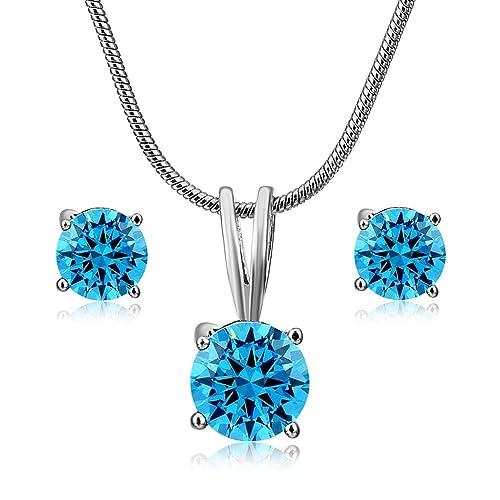 6b7a091f8de3 CARSINEL Blanco Oro Plateado Solitario Zirconia cúbica Aretes Collar Set de  Joyas para Mujer (Azul