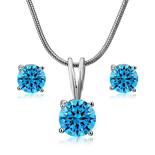 f33b65a78e51 CARSINEL Blanco Oro Plateado Solitario Zirconia cúbica Aretes Collar Set de  Joyas para Mujer (Azul