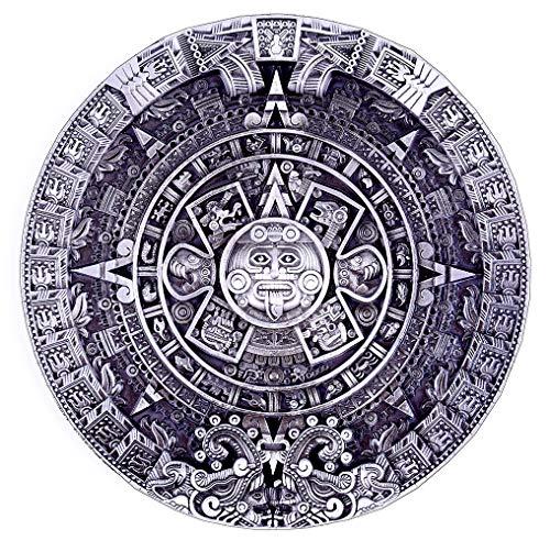 Pewter Belt Buckle Aztec Calendar - Silver Pewter Aztec Calendar Circle Design Cowboy Belt Buckles