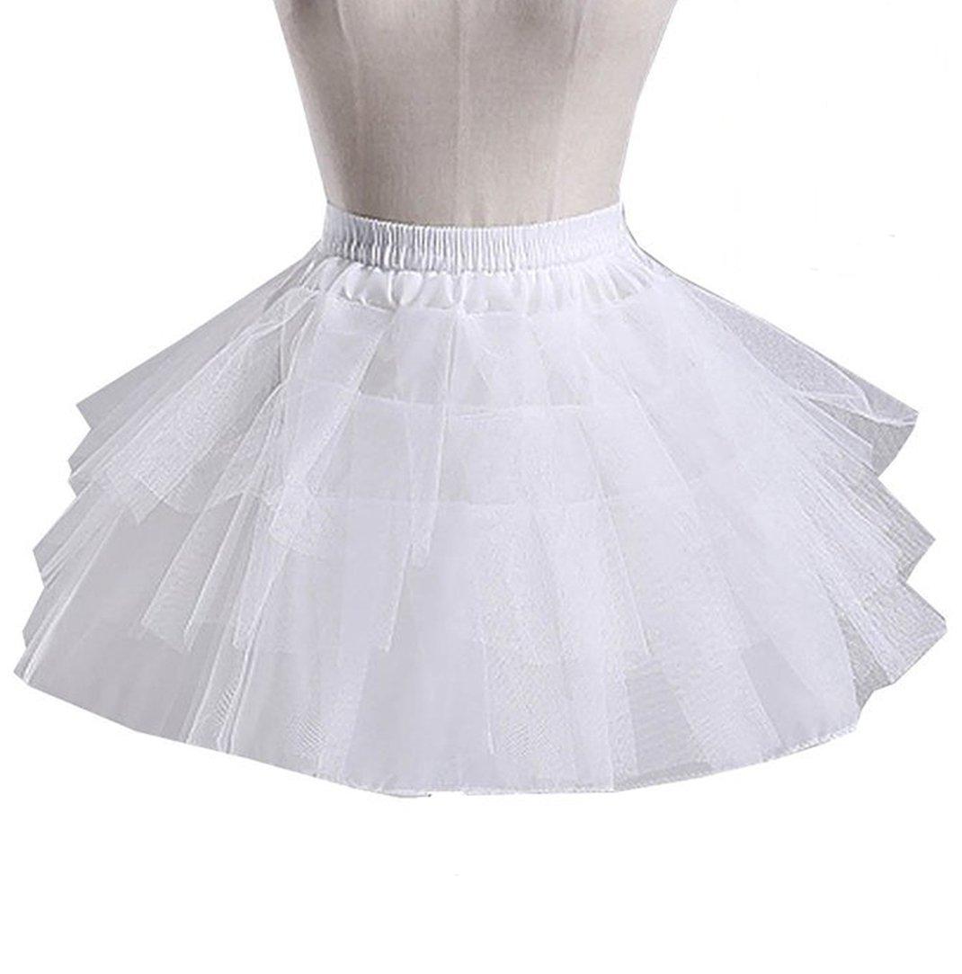 Ruiyuhong Girl's White Short Crinoline Petticoats Slips Underskirt for Wedding Party (Free Size, style3)