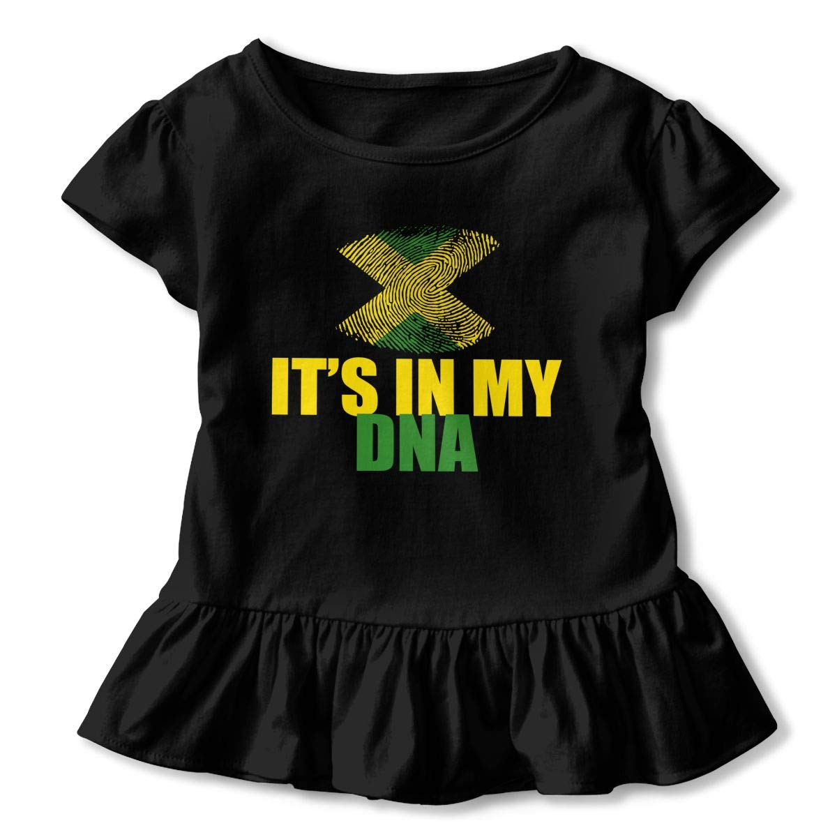 Jamaican Its in My DNA Toddler Baby Girls Short Sleeve Ruffle T-Shirt
