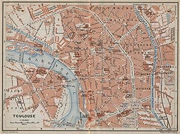 Toulouse Karte.Toulouse Antik Town City Plan De La Ville Garonne Carte
