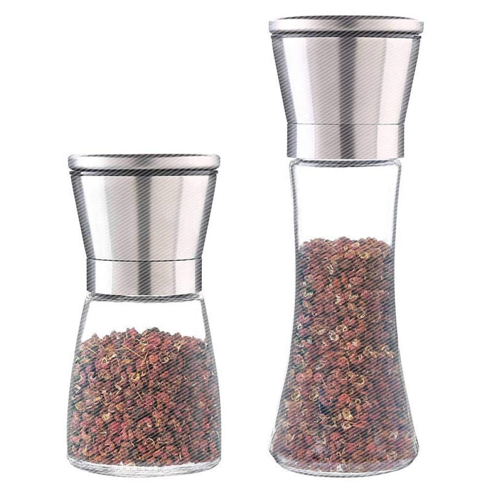 EXOOODO Salt /& Pepper Mill Ceramic Grinder per Granaio Regolabile Sale E Pepe in Acciaio Inossidabile Spazzolato @ A